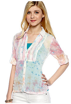 Dolled Up Pintuck Splatter Shirt