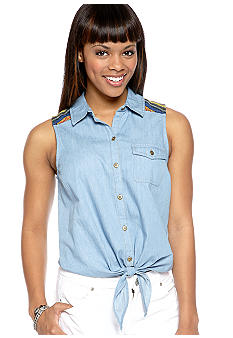 Dolled Up Blanket Trim Sleeveless Denim Shirt