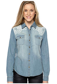 Dolled Up Long-Sleeved Denim Shirt