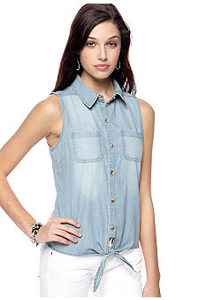 Dolled Up Sleeveless Tie Front Jean Shirt