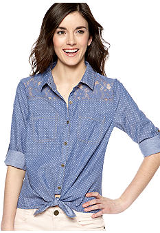 Dolled Up Lace Trim Tie Front Dot Denim Shirt