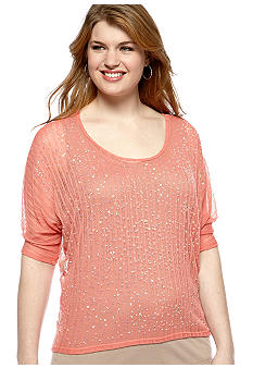Dolled Up Plus Size Sequin Sweater 2fer