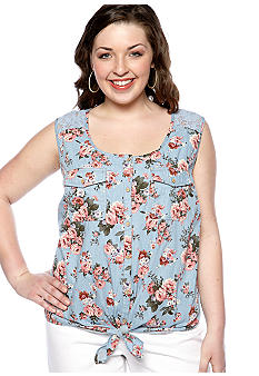 Dolled Up Plus Size Lace Back Floral Chambray Shirt