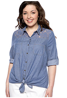 Dolled Up Plus Size Dot Front Chambray Denim Shirt