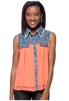 Say What? Denim Trim Solid Shirt