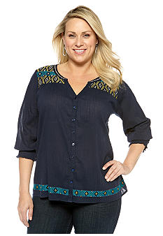 Lucky Brand Plus Size Split Neck Top
