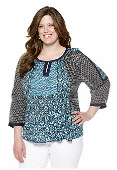 Lucky Brand Plus Size Geo Top