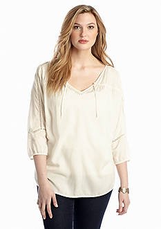 Lucky Brand Plus Size Lily Peasant Top
