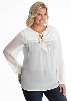 Lucky Brand Plus Size Ivory Tassel Top