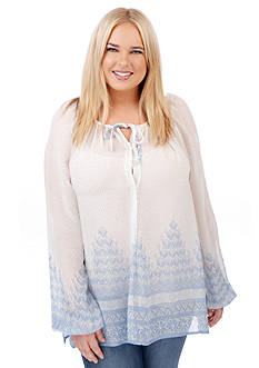 Lucky Brand Plus Size Chevron Peasant Top