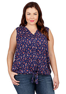 Lucky Brand Plus Size Paisley Tie Front Top