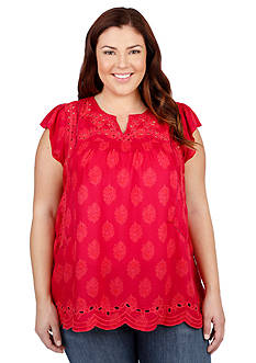 Lucky Brand Plus Size Cutout Embroidered Top