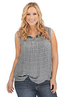 Lucky Brand Plus Size Paisley Printed Top