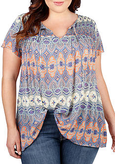 Lucky Brand Plus Size Printed Smocked Top
