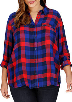 Lucky Brand Plus Size Bungalow Plaid Top