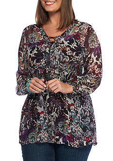 Lucky Brand Floral Peasant Blouse