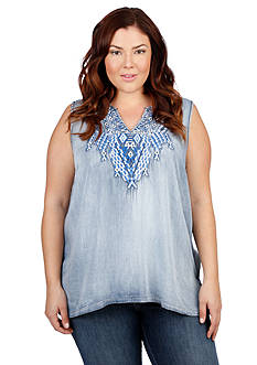 Lucky Brand Plus Size Embroidered Chambray Tank