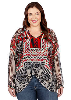 Lucky Brand Plus Size Tribal Printed Blouse