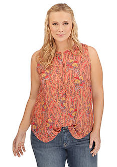 Lucky Brand Plus Size Feather Print Top