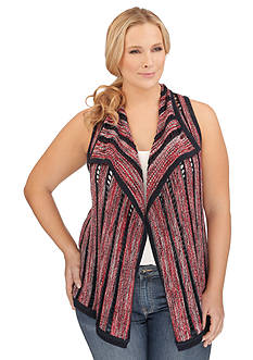 Lucky Brand Plus Size Striped Americana Vest