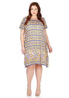 Lucky Brand Plus Size Paisley Border Dress