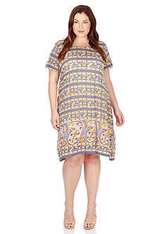 Lucky Brand Plus Size Paisley Border Dress