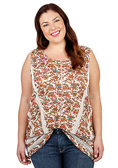 Lucky Brand Plus Size Crochet Inset Floral Tank