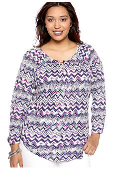 Lucky Brand Plus Size Chevron Stripe Knit Top