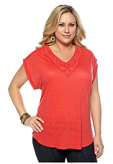 Lucky Brand Plus Size V Neck Back Tie Top
