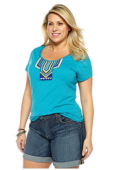 Lucky Brand Plus Size Top with Beaded Neckline