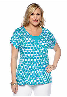 Lucky Brand Plus Size Ikat Print Top