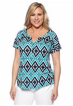 Lucky Brand Plus Size Diamond Print Knit Top
