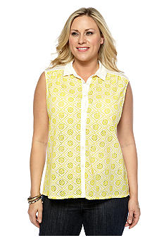 Lucky Brand Plus Size Sleeveless Collared Top