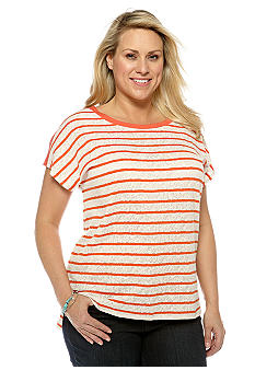 Lucky Brand Short Sleeve Stripe Knit Top