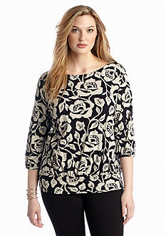 Lucky Brand Plus Size Rose Vine Knit Top
