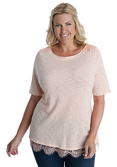 Lucky Brand Plus Size Lace Trim Top