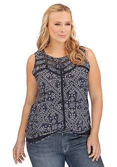 Lucky Brand Plus Size Ladder Stitch Tank