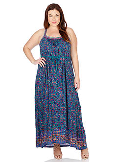 Lucky Brand Plus Size Embroidered Maxi Dress