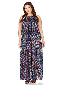 Lucky Brand Plus Size Printed Maxi Dress