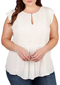 Lucky Brand Plus Size Mixed Fabric Shell Top