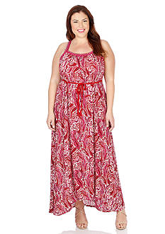 Lucky Brand Plus Size Paisley Print Maxi Dress