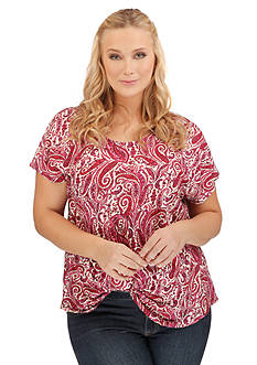 Lucky Brand Plus Size Printed Paisley Top
