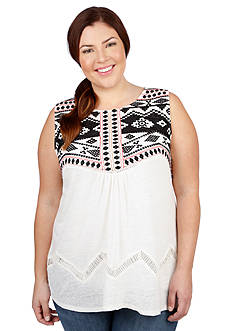 Lucky Brand Plus Size Embroidered Yoke Top