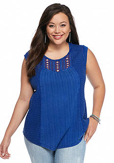 Lucky Brand Plus Size Washed Knit Top