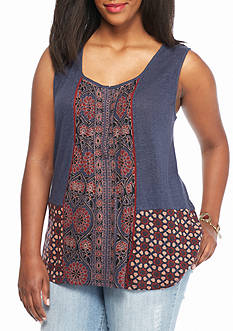 Lucky Brand Plus Size Mixed Print Tank