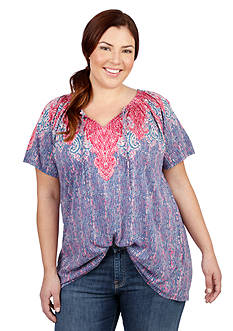 Lucky Brand Plus Size Paisley Tee