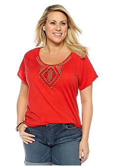 Lucky Brand Plus Size Beaded Tee