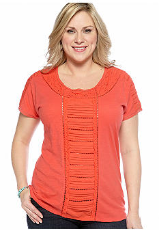 Lucky Brand Plus Size Top With Lace Inset