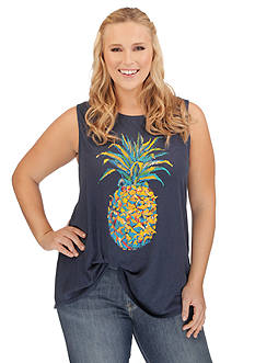 Lucky Brand Plus Size Pineapple Graphic Tank