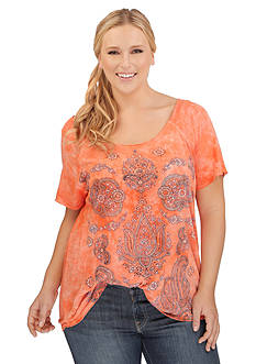 Lucky Brand Plus Size Paisley Print Tee